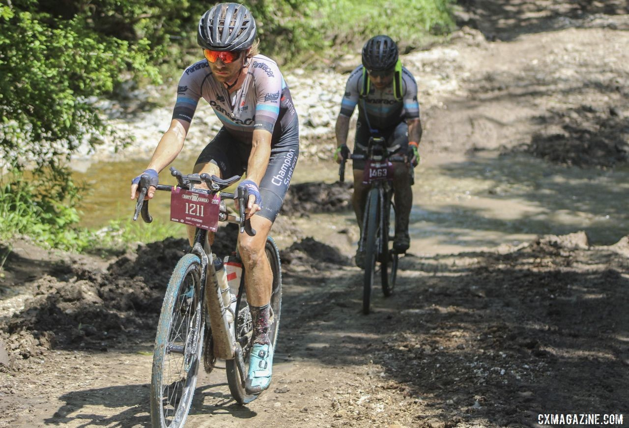 Mat Stephens helps lead the Panaracer team to the Crusher. 2019 Dirty Kanza 200 Gravel Race. © Z. Schuster / Cyclocross Magazine