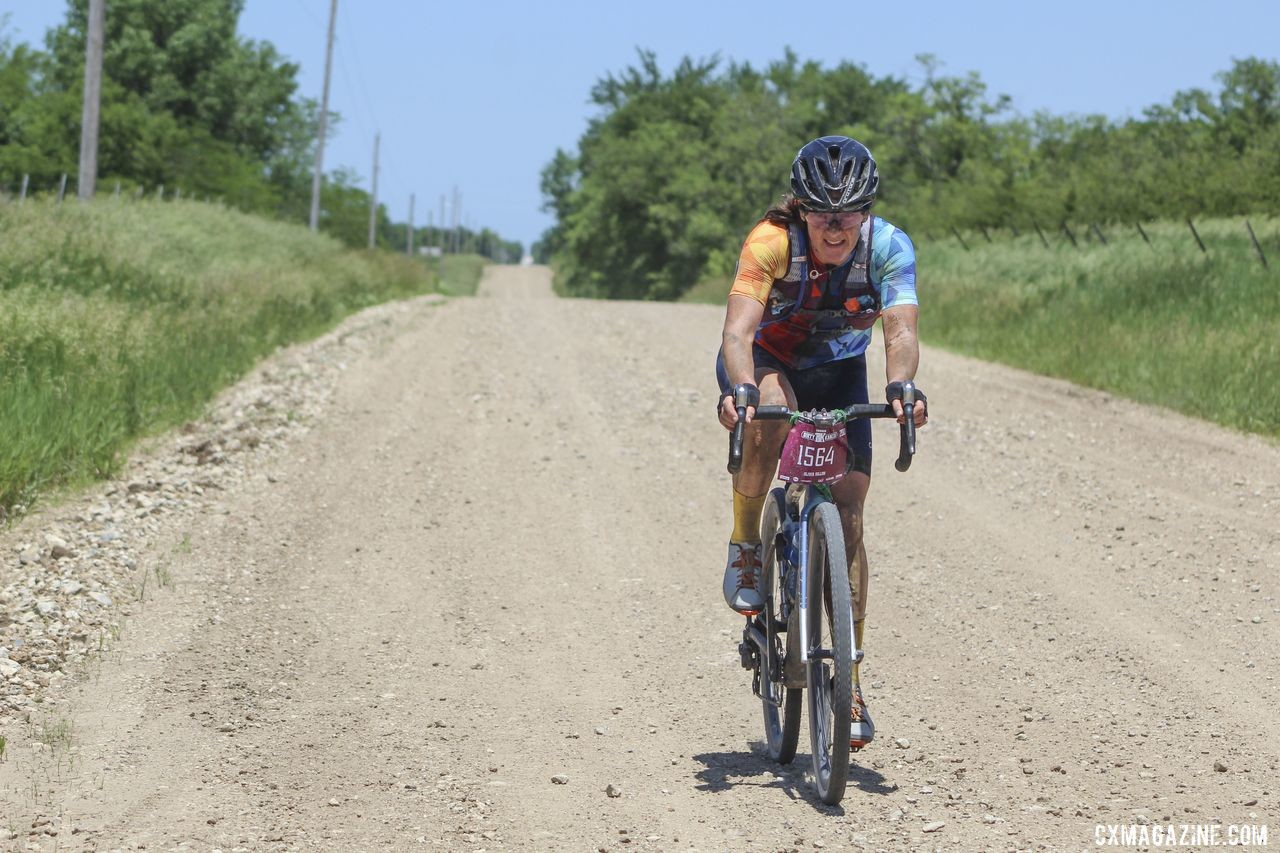 Olivia Dillon pushes with no one in sight behind her. 2019 Women's Dirty Kanza 200 Gravel Race. © Z. Schuster / Cyclocross Magazine