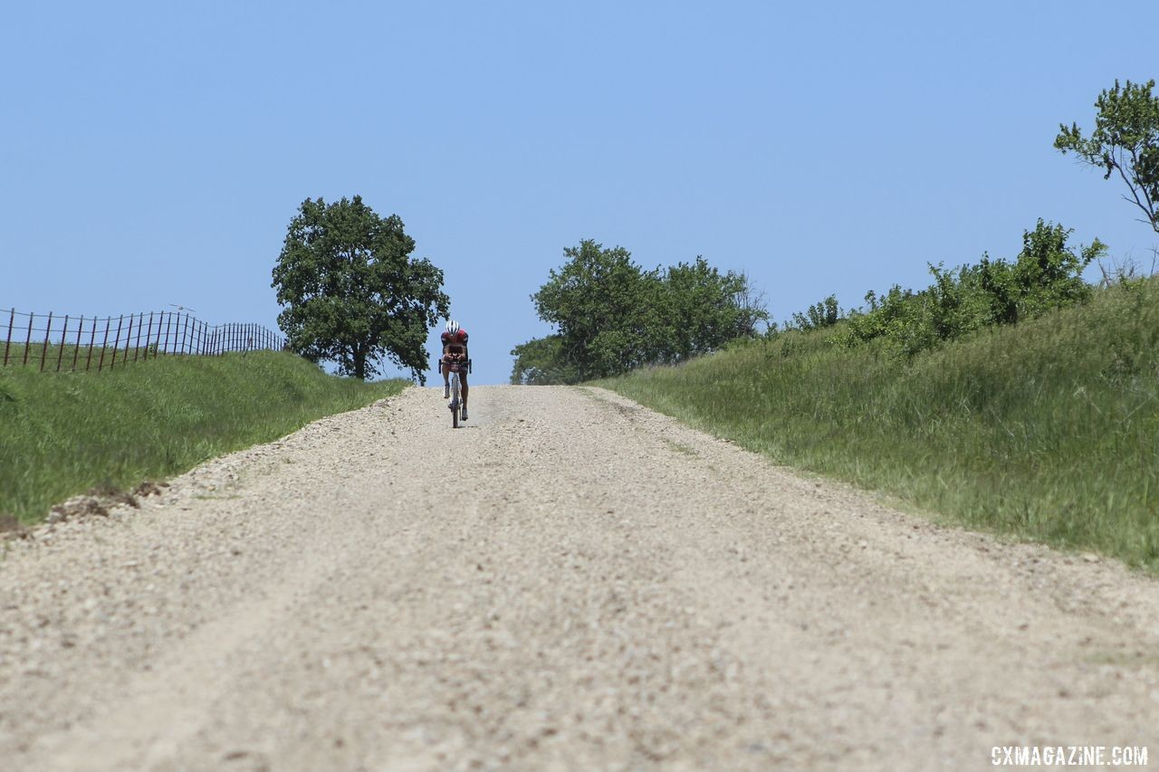 Peter Stetina got aero during his solo chase of Colin Strickland. 2019 Dirty Kanza 200 Gravel Race. © Z. Schuster / Cyclocross Magazine