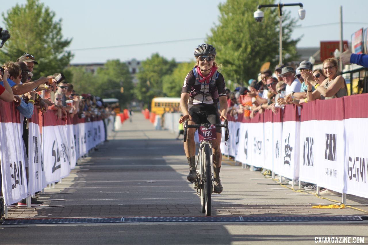 Amity Rockwell is the newest Queen of Kanza. 2019 Women's Dirty Kanza 200 Gravel Race. © Z. Schuster / Cyclocross Magazine