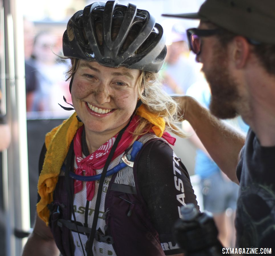 Amity Rockwell is congratulated by Easton Overland team manager Matt Hornland. 2019 Women's Dirty Kanza 200 Gravel Race. © Z. Schuster / Cyclocross Magazine