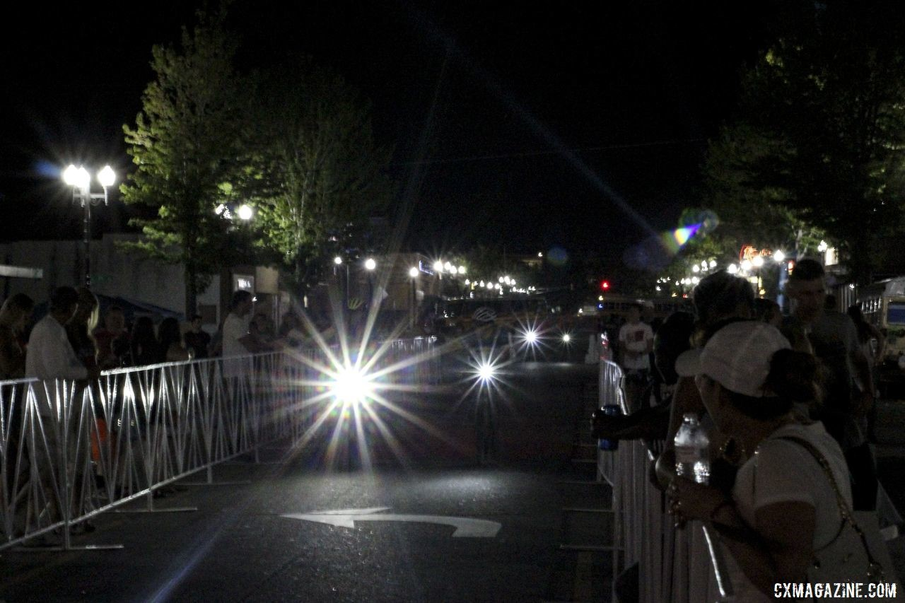 Bike lights and spotlights replaced daylights at the finish line after nightfall. 2019 Dirty Kanza 200 Gravel Race. © Z. Schuster / Cyclocross Magazine