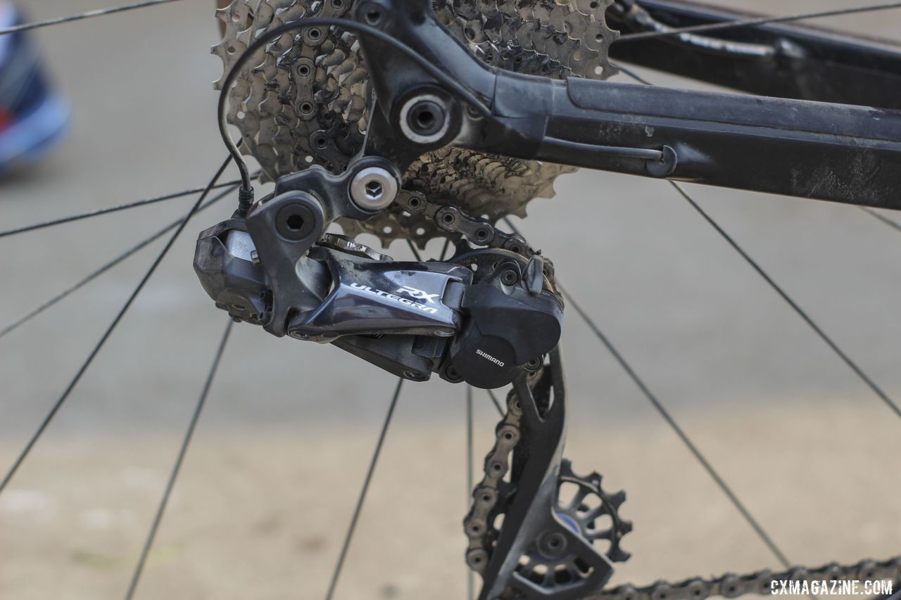 As predicted, Nauman used the Ultegra RX805 derailleur in 2019. Amanda Nauman's 2019 DK200 Niner RLT 9 RDO Gravel Bike. © Z. Schuster / Cyclocross Magazine