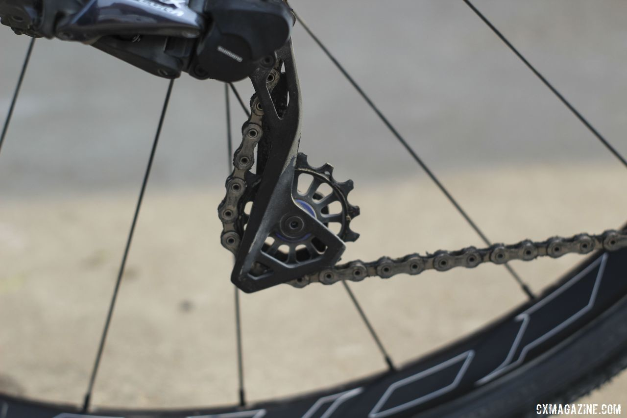 New this year was a new Kogel pulley wheel designed for the Ultegra RX805 clutch derailleur. Amanda Nauman's 2019 DK200 Niner RLT 9 RDO Gravel Bike. © Z. Schuster / Cyclocross Magazine