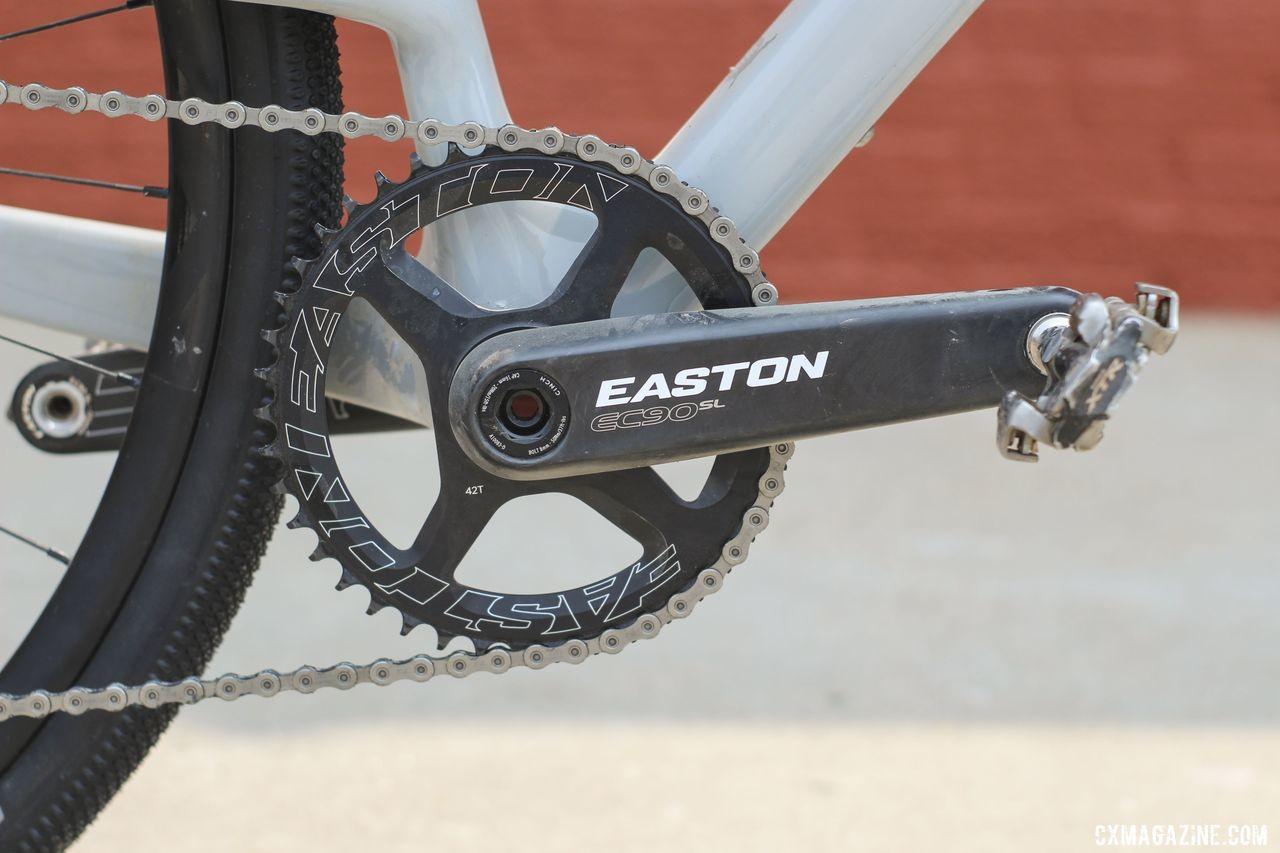 Rockwell ran an Easton EC90 SL crank with a 42t Easton ring. Amity Rockwell's DK200 Allied Able Gravel Bike. © Z. Schuster / Cyclocross Magazine