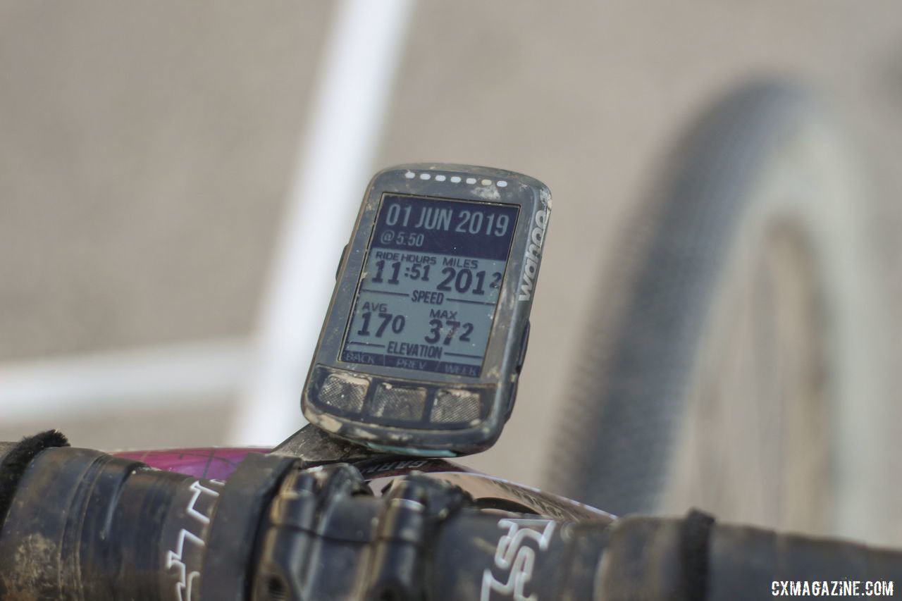 Rockwell measured her ride with a Wahoo Elemnt Bolt. Amity Rockwell's DK200 Allied Able Gravel Bike. © Z. Schuster / Cyclocross Magazine