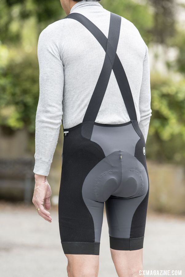 The straps criss cross in the back. Assos XC Bib Shorts. © C. Lee / Cyclocross Magazine
