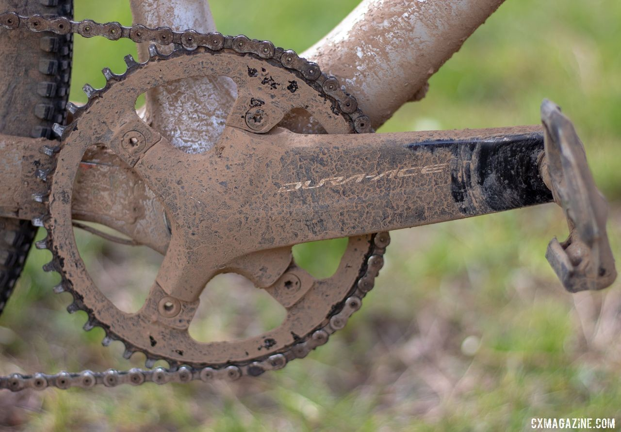 Wicks ran a 44t Wolf Tooth narrow-wide chain ring on an R9100 crankset. Barry Wicks' 2020 Team Edition Kona LIbre. 2019 Lost and Found gravel race. © A. Yee / Cyclocross Magazine
