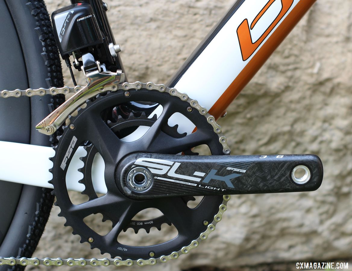 The SL-K Light modular crankset fits FSA's 48/32t adventure gearing spread. Blue Hogback Gravel Bike, 2019 Dirty Kanza Expo. © Z. Schuster / Cyclocross Magazine