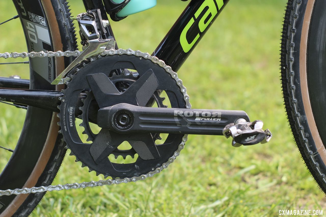 De Crescenzo used a Rotor INpower crankset with gravel-oriented 48/32t chain rings. Lauren De Crescenzo's Cannondale SuperX Gravel Bike. © Z. Schuster / Cyclocross Magazine