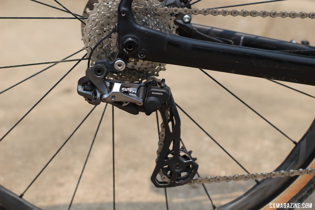 Mueller ran the new GRX GX817 Di2 rear derailleur that has a clutch like the RX805 released last year. Erica Mueller's Orbea Terra with Shimano GRX. © Z. Schuster / Cyclocross Magazine