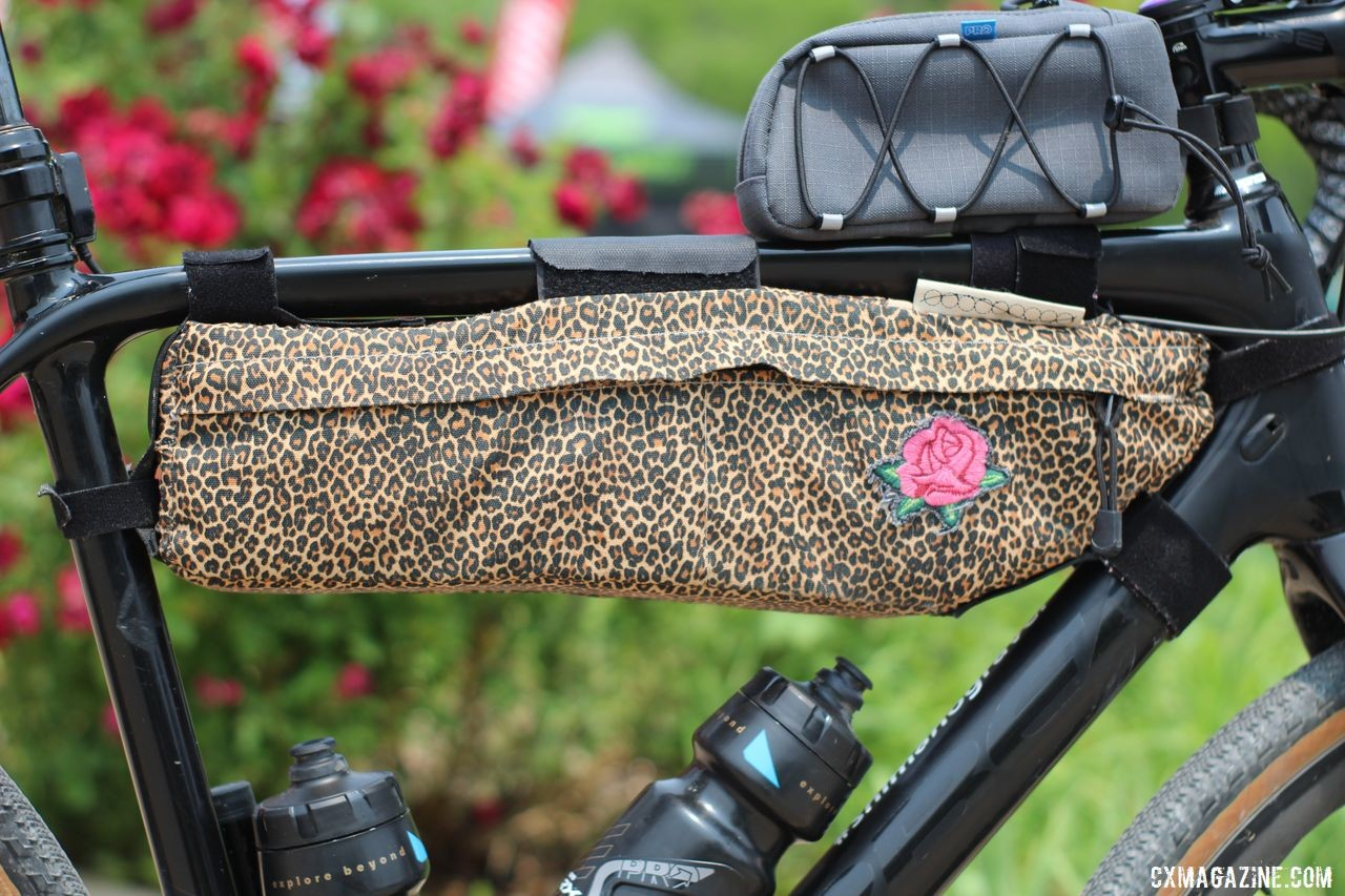 You can always spot Mueller on a gravel ride with her Outer Shell leopard-print bag with a rose added for good measured. Erica Mueller's Orbea Terra with Shimano GRX. © Z. Schuster / Cyclocross Magazine