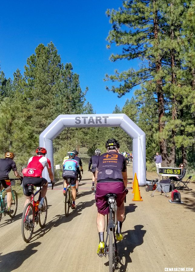 For the first time, the race had several miles of paved neutral roll-out before the race timing and climbing began. 2019 Lost and Found gravel race. © A. Yee / Cyclocross Magazine