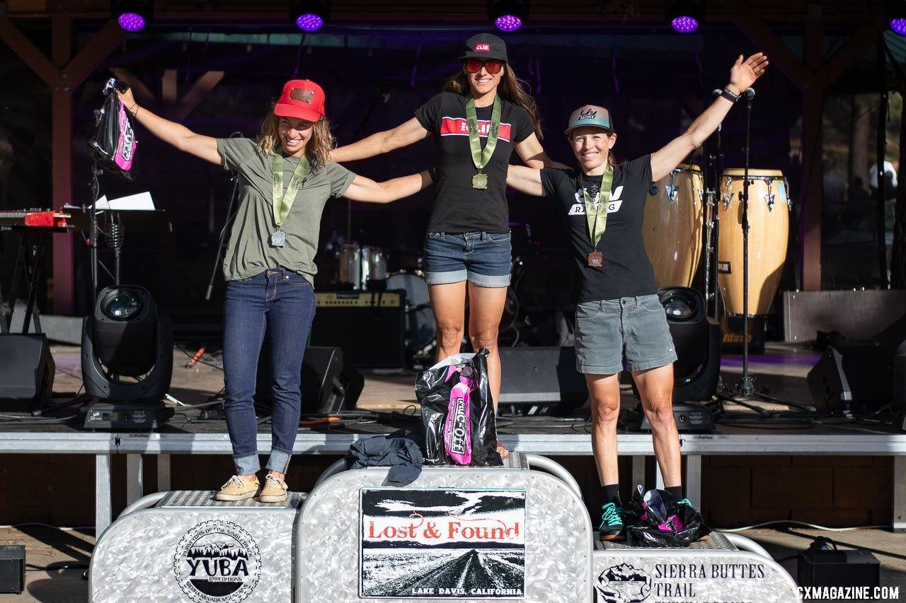 Sarah Sturm, Katerina Nash and Serena Bishop Gordon. 2019 Lost and Found gravel race Pro Women podium. © A. Yee / Cyclocross Magazine