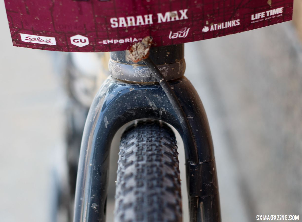 Max ran 38mm tires and found just enough clearance for them with the ENVE fork. Sarah Max's 2019 DK200 Argonaut GR2 Gravel Bike. © Z. Schuster / Cyclocross Magazine