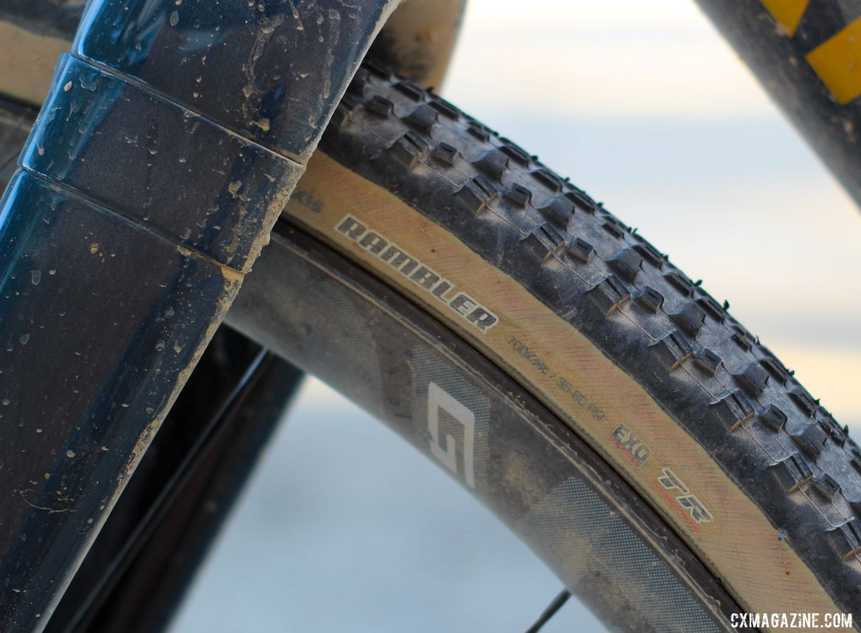 Based on a rec from friends, Max ran 700c x 38mm Maxxis Ramblers with the EXO casing. Sarah Max's 2019 DK200 Argonaut GR2 Gravel Bike. © Z. Schuster / Cyclocross Magazine