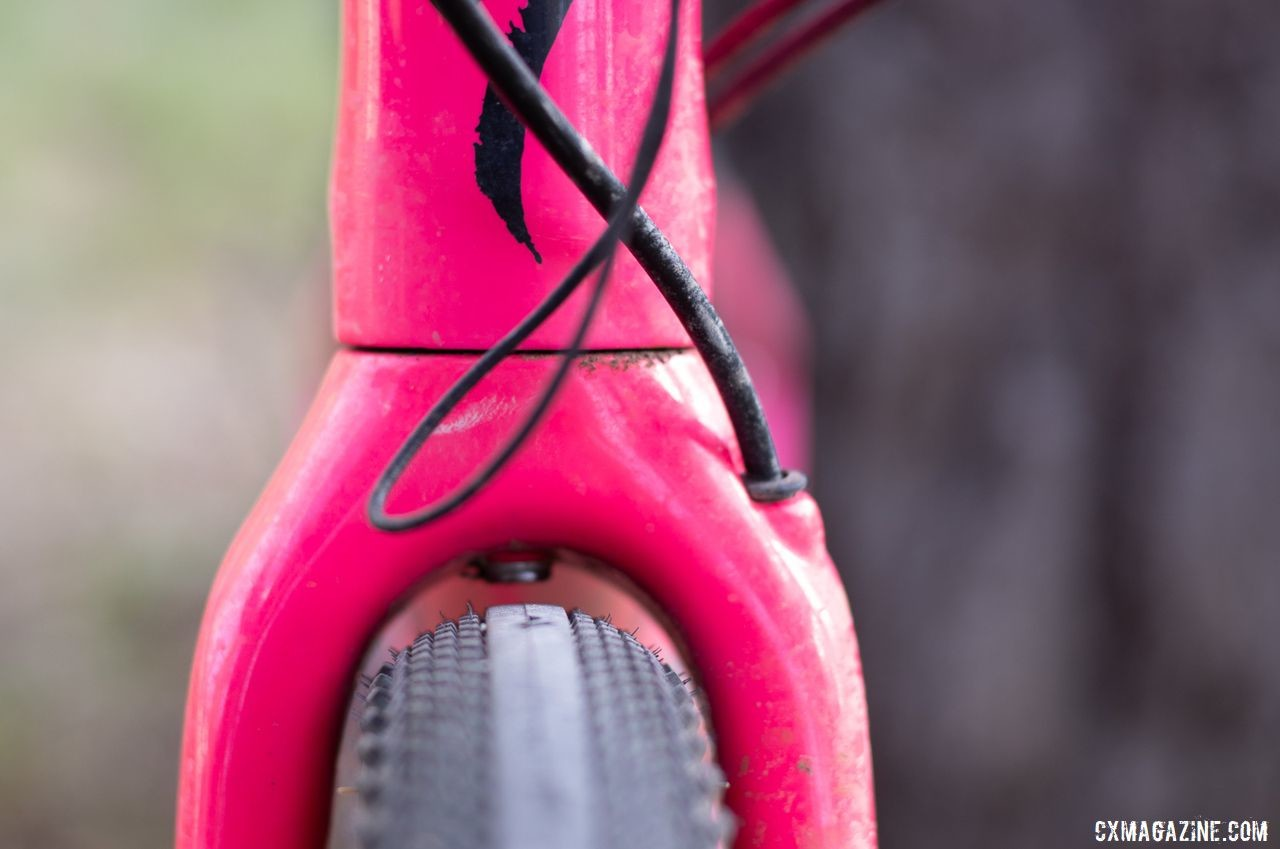 Pink! Bright pink. Sarah Sturm's 2019 Lost and Found Specialized Diverge gravel bike. © A. Yee / Cyclocross Magazine