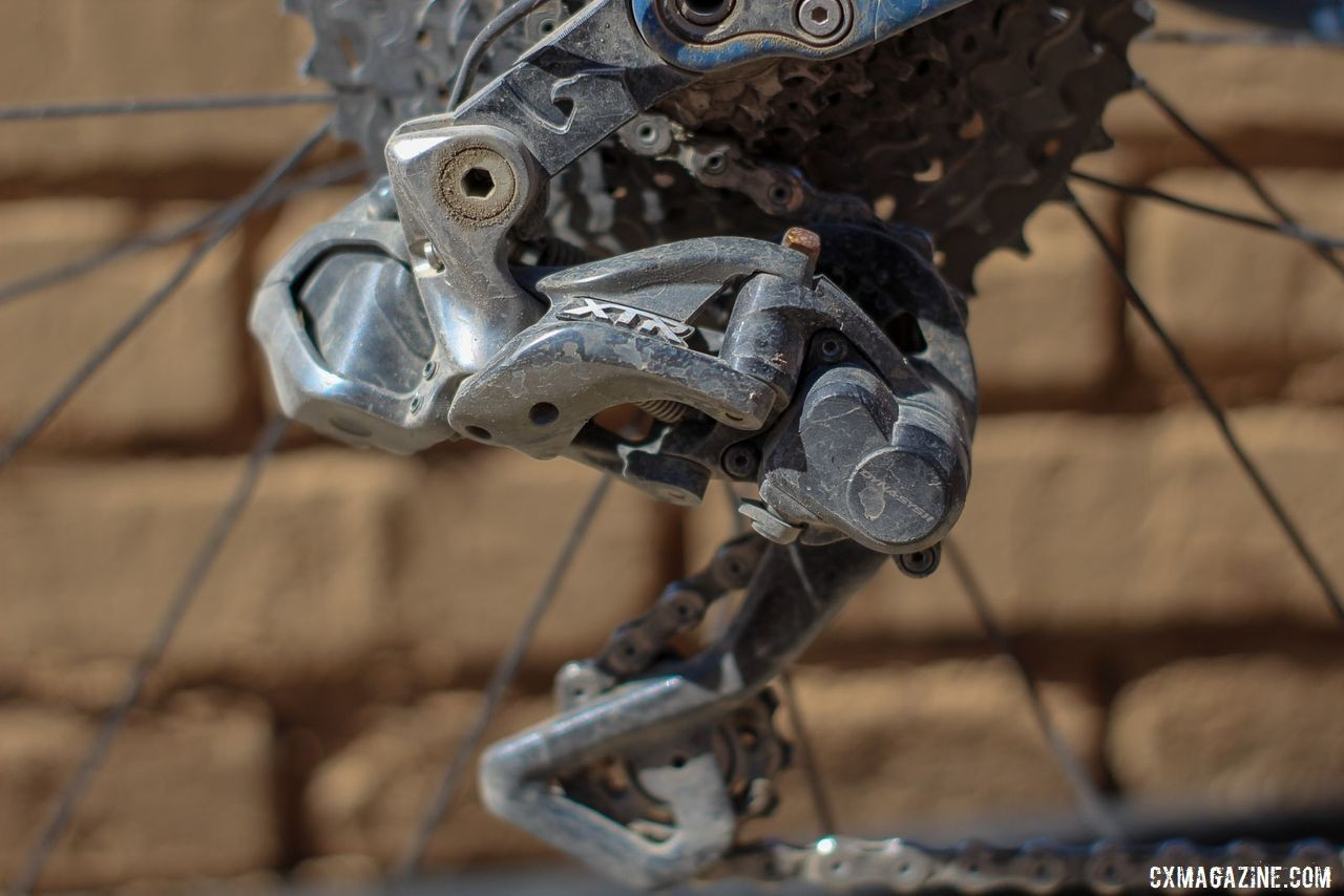 Strickland opted for a Shimano XTR M9000 mountain derailleur with his 1x setup. Colin Strickland's 2019 Dirty Kanza 200 Allied Able. © Z. Schuster / Cyclocross Magazine