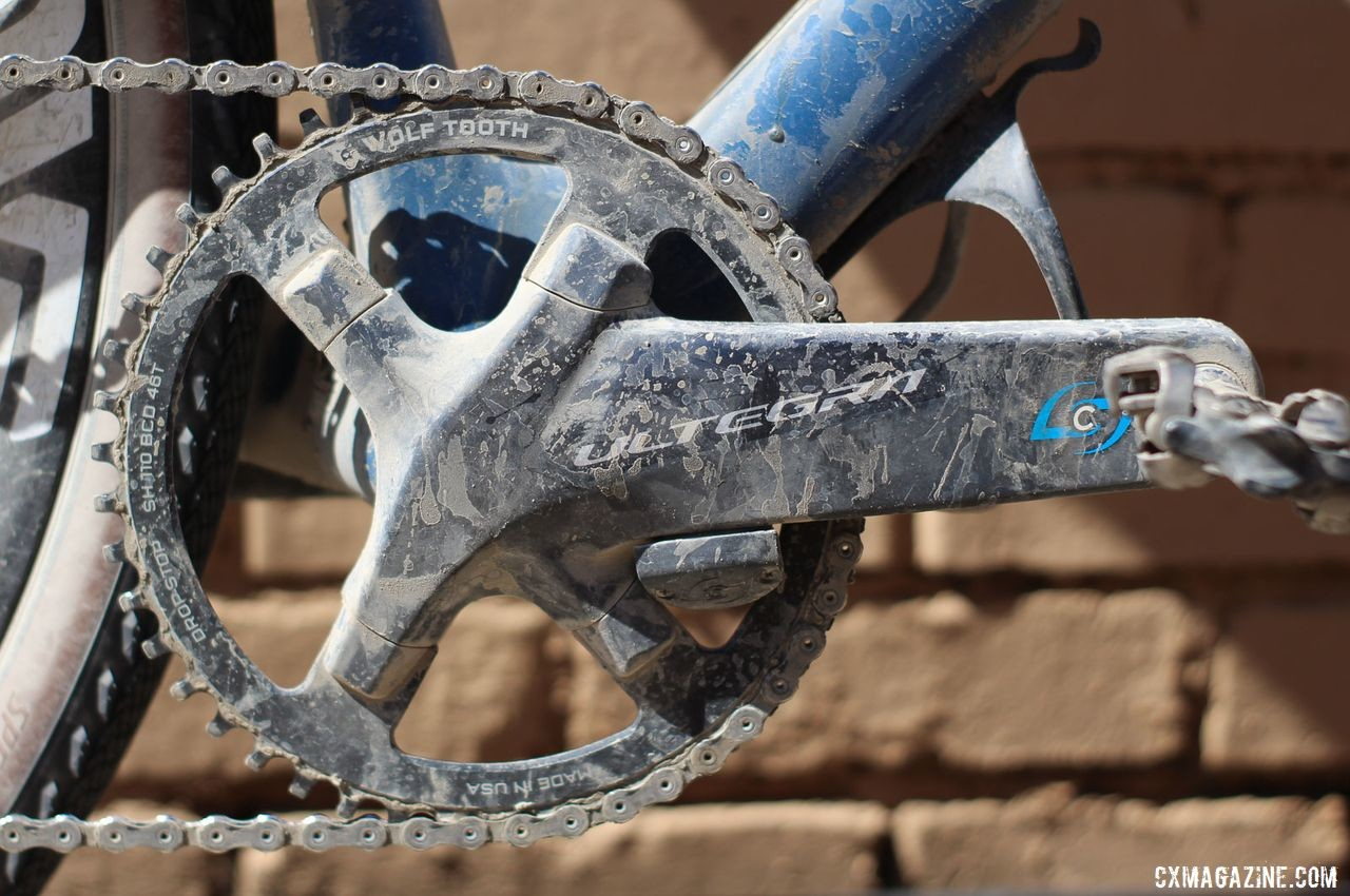 Strickland went 1x for DK with a 46t Wolf Tooth ring mounted to an Ultegra R8000 crankset. Colin Strickland's 2019 Dirty Kanza 200 Allied Able. © Z. Schuster / Cyclocross Magazine