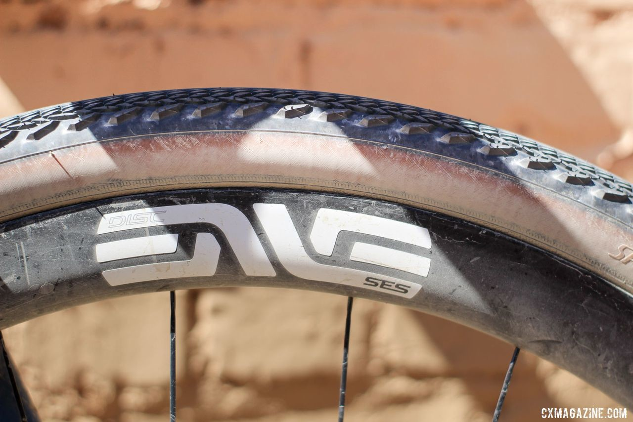 Strickland ran ENVE SES AR3.4 carbon tubeless wheels. Colin Strickland's 2019 Dirty Kanza 200 Allied Able. © Z. Schuster / Cyclocross Magazine