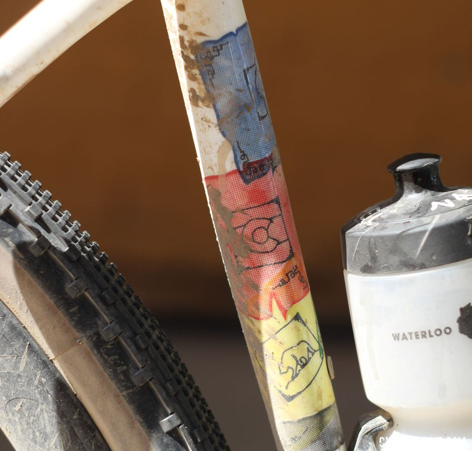 Like Sven's bike last year, Stetina's Checkpoint got some custom art. Peter Stetina's Trek Checkpoint gravel bike. © Z. Schuster / Cyclocross Magazine
