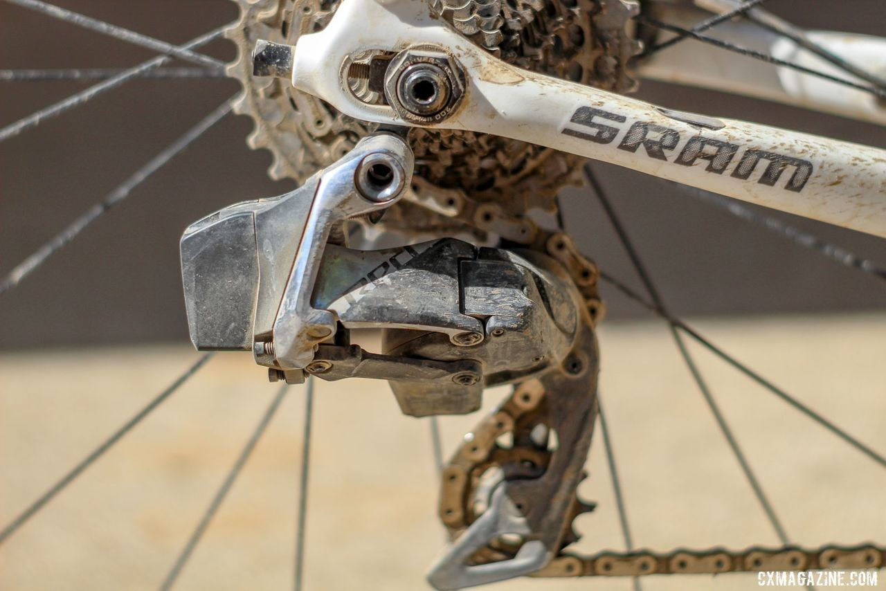 Stetina ran a SRAM Red 1 eTap AXS rear derailleur with a 1x front. Peter Stetina's Trek Checkpoint gravel bike. © Z. Schuster / Cyclocross Magazine