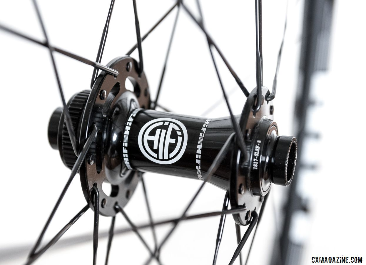 The HiFi Fidelity M Disc hubs come in a variety of axle types and have 2-degree engagement. HiFi 29er Session24 Carbon Tubeless Clincher Wheelset. © C. Lee / Cyclocross Magazine