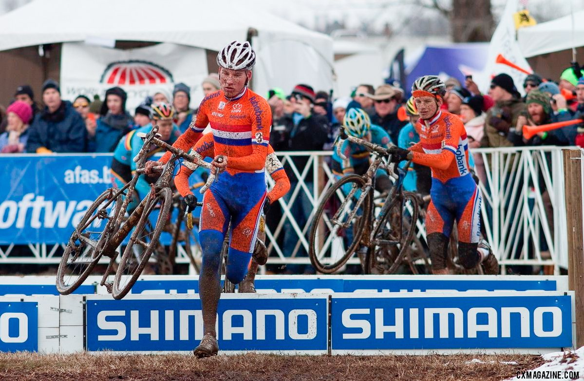 Mike Teeunissen leading the chase of Bosmans at the 2013 UCI Cyclocross World Championships in Louisville. © Cyclocross Magazine