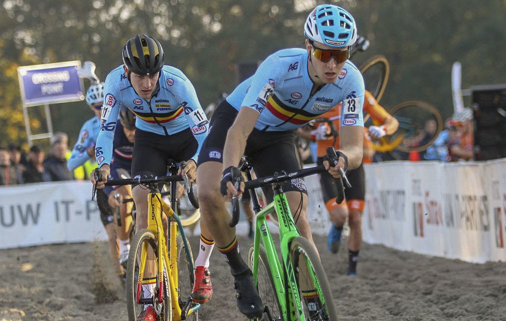 Tim Merlier leads Toon Aerts through the sand. 2018 European Cyclocross Championships, Rosmalen, Netherlands. © B. Hazen / Cyclocross Magazine