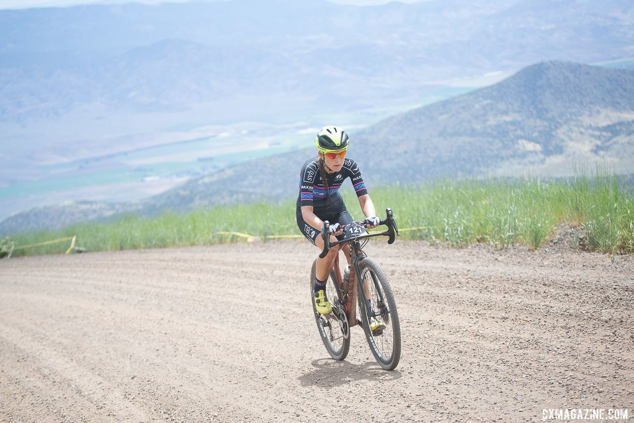 Stephens sets a steady yet super fast pace up the Col d' Crush. 2019 Crusher in the Tushar Gravel Race. © Catherine Fegan-Kim / Cottonsox Photo