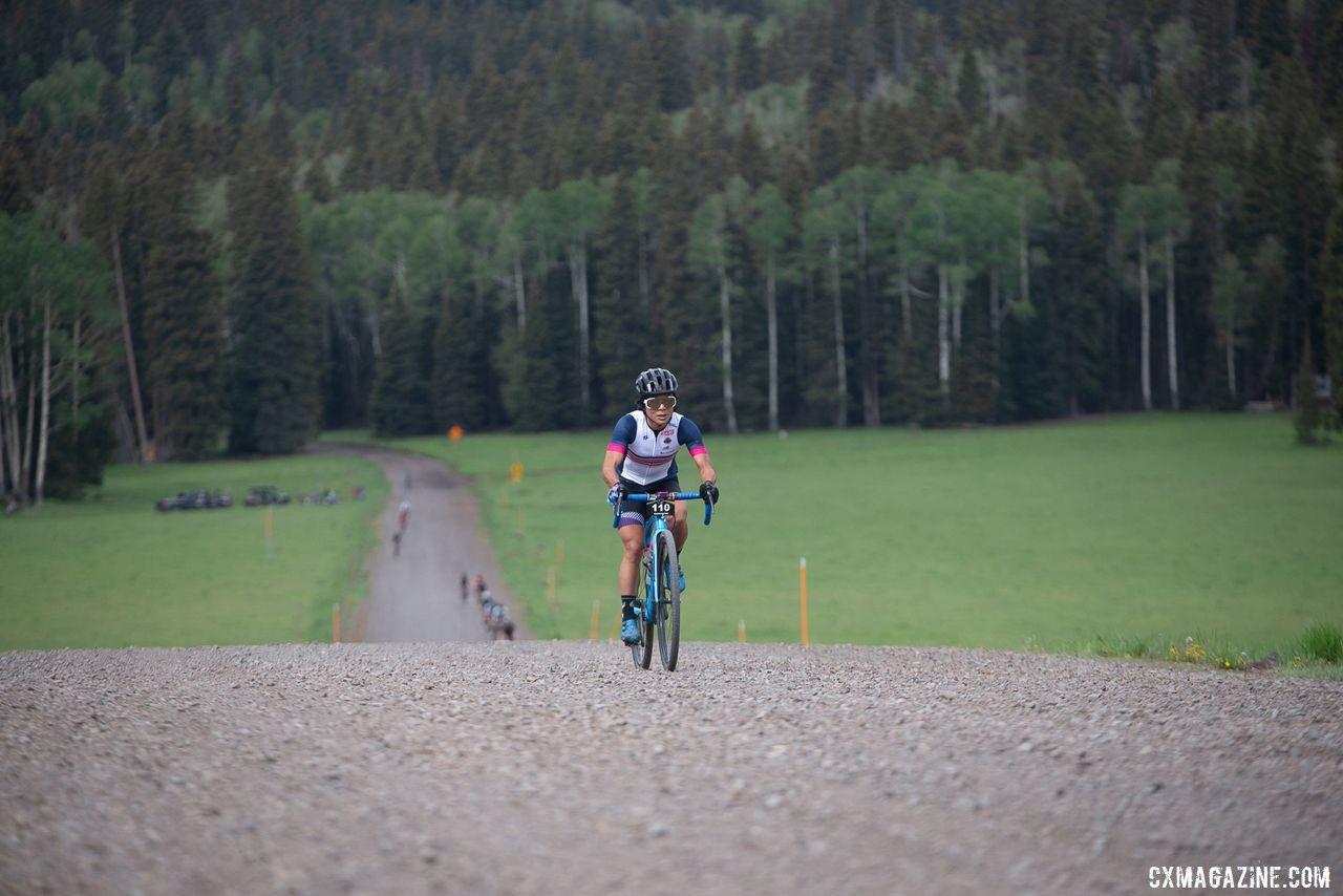 Evelyn Dong chases Lauren Stephens. 2019 Crusher in the Tushar Gravel Race. © Cathy Fegan-Kim / Cottonsox Photo