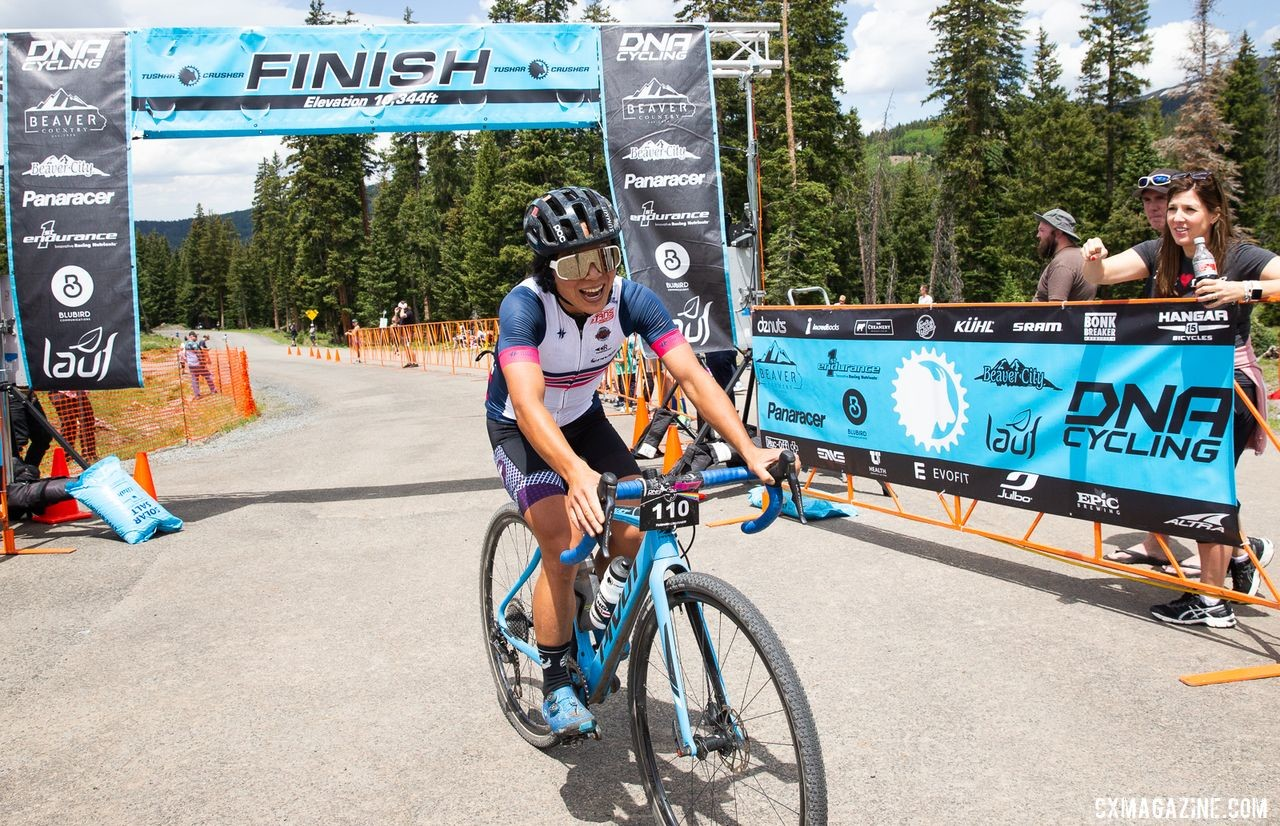 Evelyn Dong smiles after winning the Crusher in her first try. 2019 Crusher in the Tushar Gravel Race. © Cathy Fegan-Kim / Cottonsox Photo