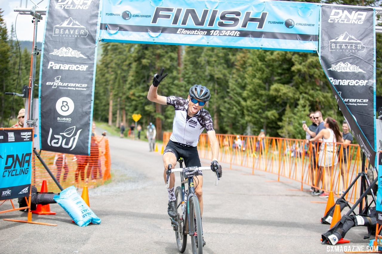 Alex Grant celebrates his first Crusher win in six tries. 2019 Crusher in the Tushar Gravel Race. © Cathy Fegan-Kim / Cottonsox Photo