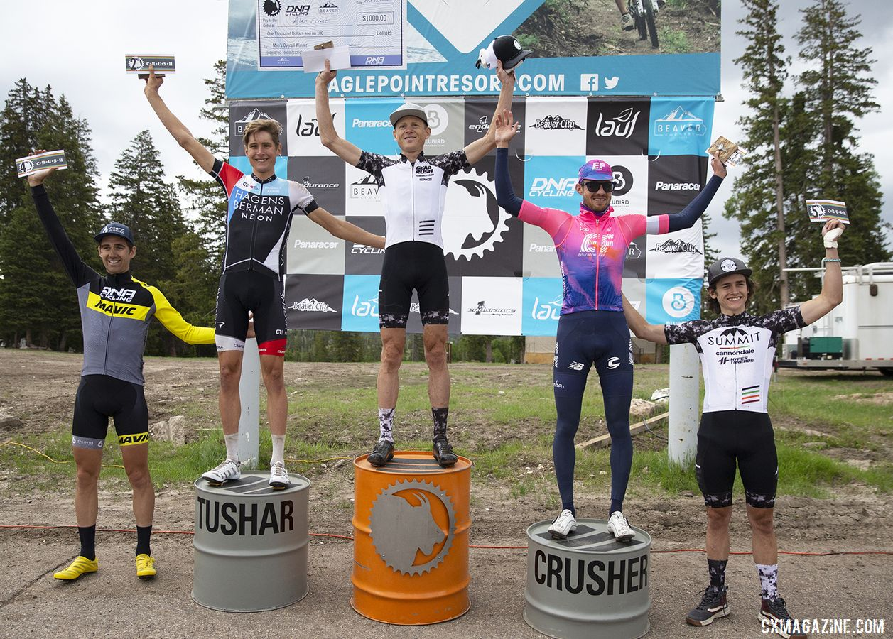 Men's podium: Alex Grant, Eddie Anderson, Alex Howes, Jamey Driscoll and Zach Calton. 2019 Crusher in the Tushar Gravel Race. © Cathy Fegan-Kim / Cottonsox Photo