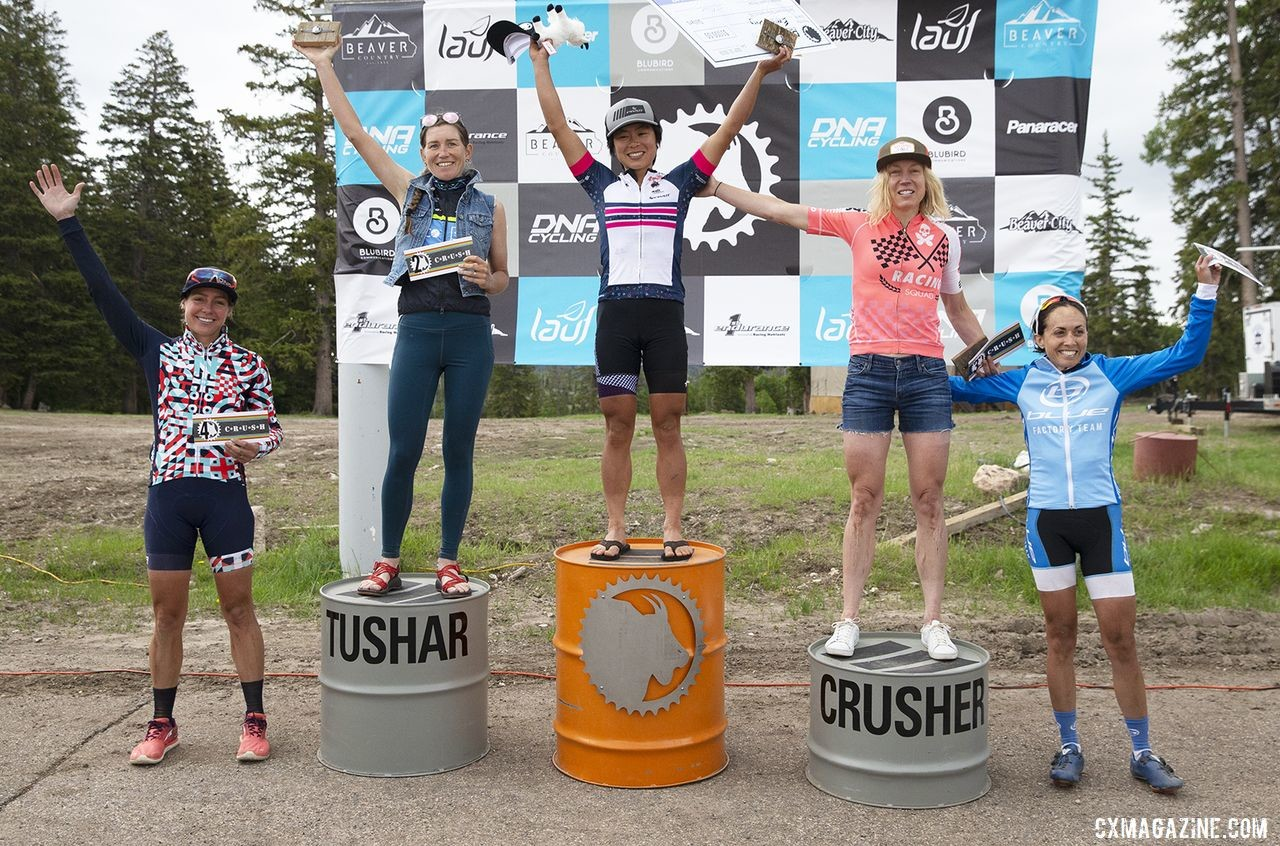 Women's podium: Evelyn Dong, Lauren Stephens, Sarah Max, Amy Charity and Aimee Vasse. 2019 Crusher in the Tushar Gravel Race. © Cathy Fegan-Kim / Cottonsox Photo