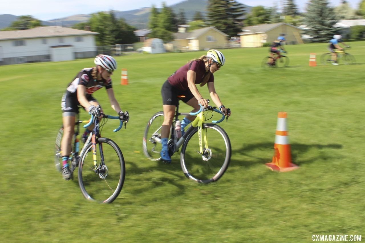 Coach Fahringer worked with Grace Mattern on passing during the Figure 8 drill. 2019 Women's MontanaCrossCamp, Wednesday AM. © Z. Schuster / Cyclocross Magazine
