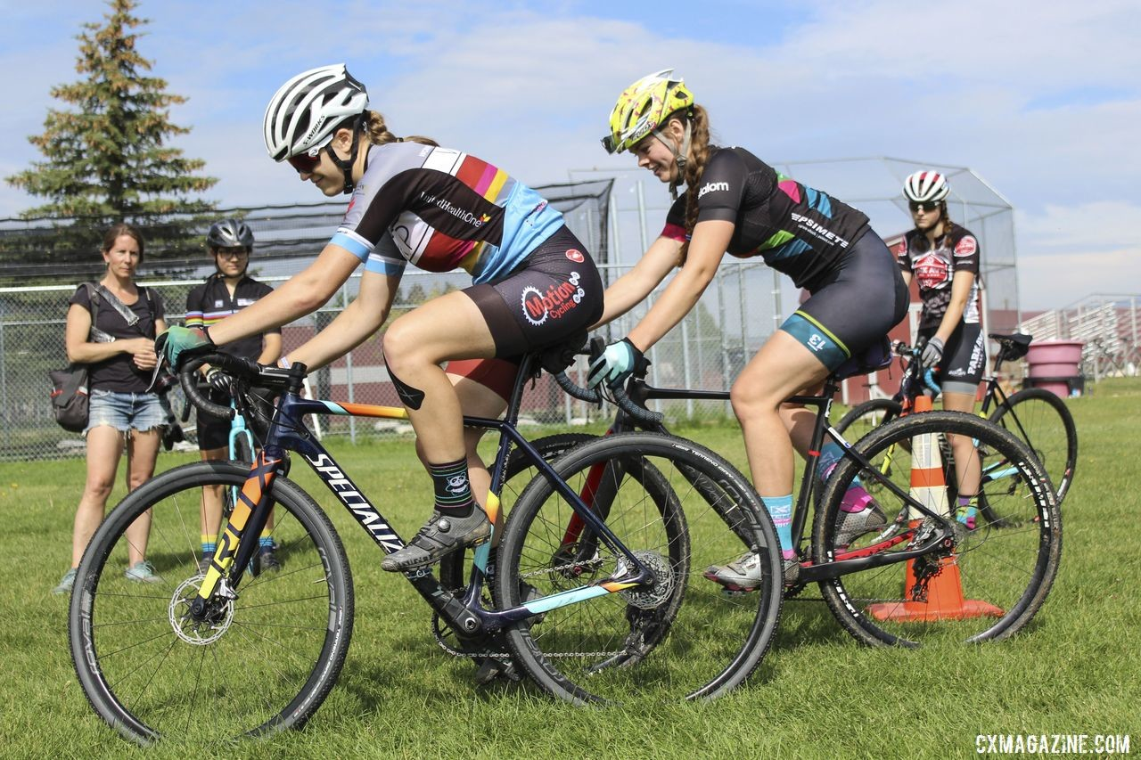 Ellie Mitchell (right) took the second round of Bike Derby as well. 2019 Women's MontanaCrossCamp, Wednesday AM. © Z. Schuster / Cyclocross Magazine