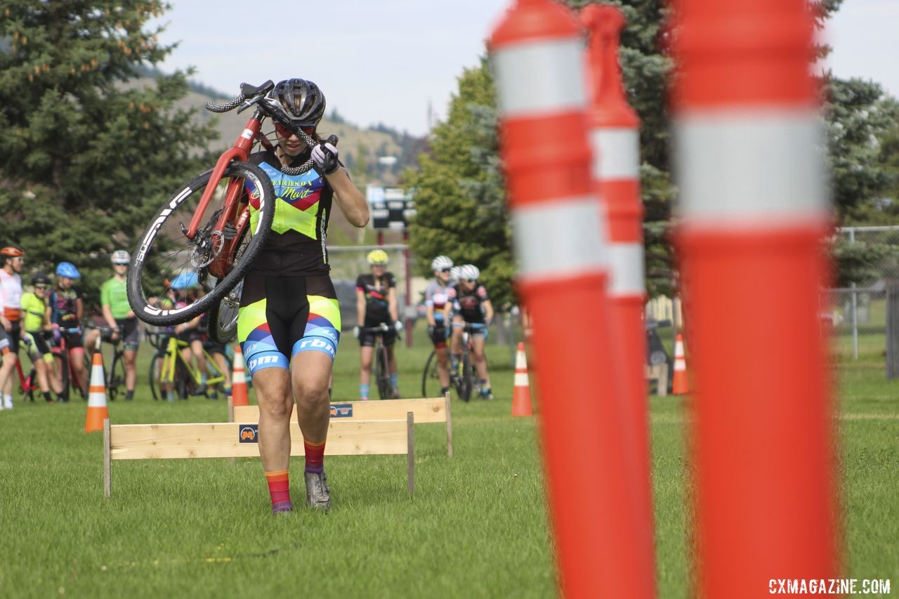 The speed ladder posed an additional obstacle after the barriers. 2019 Women's MontanaCrossCamp, Wednesday AM. © Z. Schuster / Cyclocross Magazine
