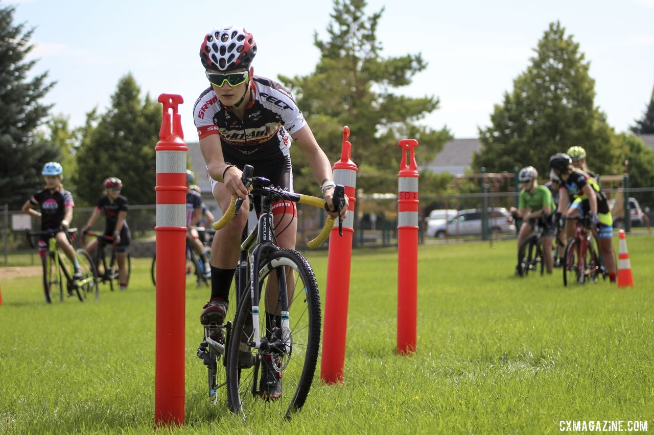 Cassidy Hickey weaves through the obstacle course chicanes. 2019 Women's MontanaCrossCamp, Wednesday AM. © Z. Schuster / Cyclocross Magazine