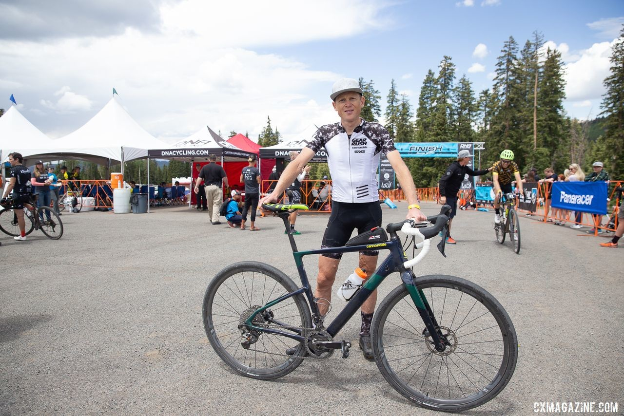Alex Grant and his Cannondale Topstone Carbon after his Crusher win. 2019 Crusher in the Tushar Gravel Race. © Catherine Fegan-Kim / Cottonsox Photo