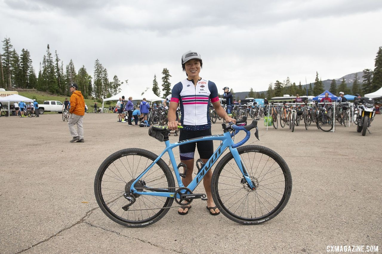 Evelyn Dong borrowed a Pivot Valut and won the Crusher. 2019 Crusher in the Tushar Gravel Race. © Cathy Fegan-Kim / Cottonsox Photo