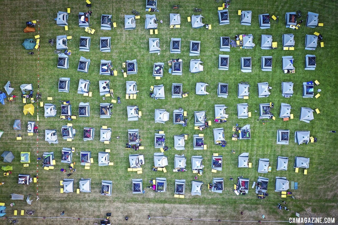 The tent city was well organized, as seen from above. 2019 Oregon Trail Gravel Grinder. © Adam Lapierre