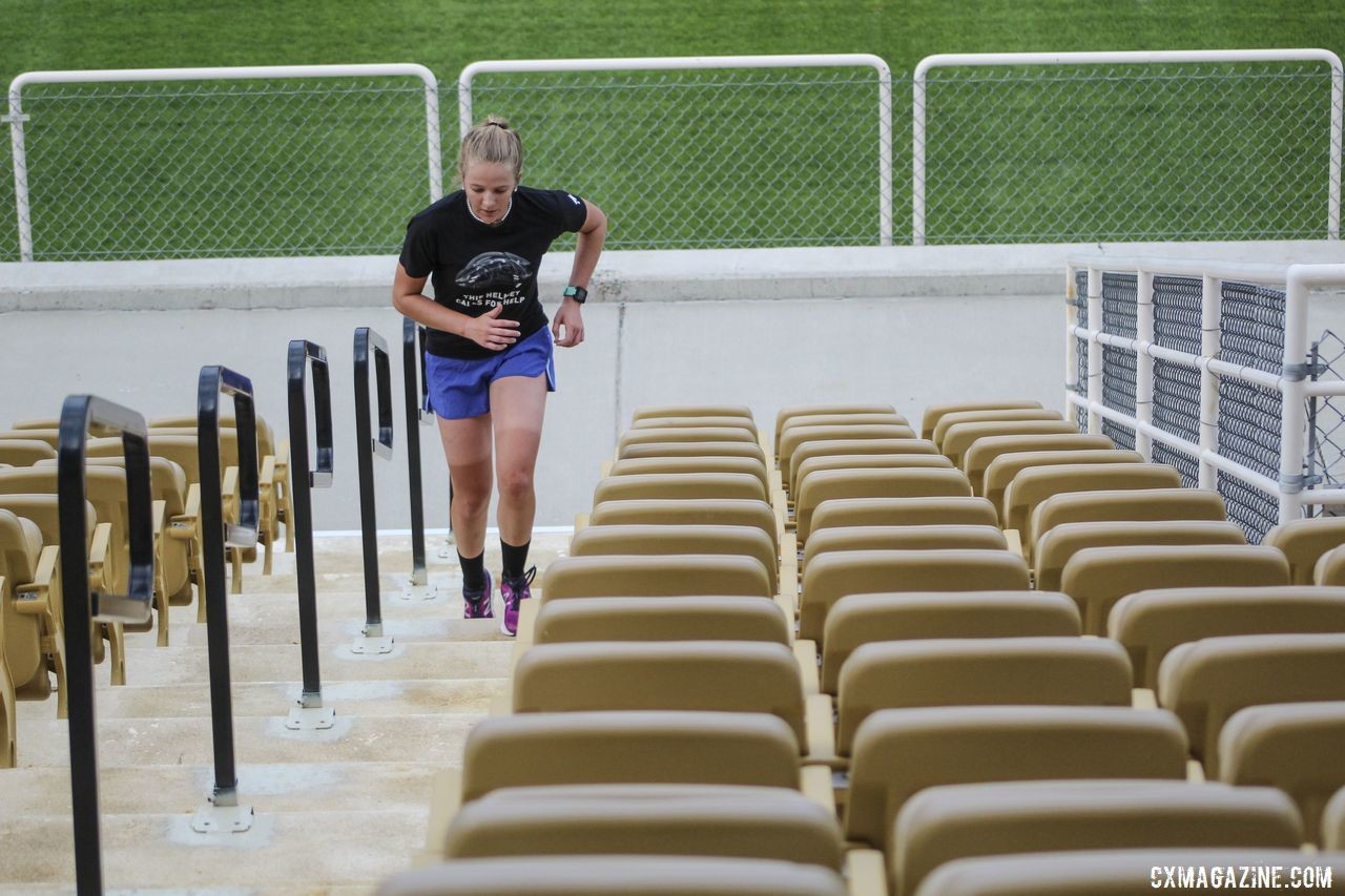 Four sets of stadium stairs help get the blood flowing early in the morning. 2019 Women's MontanaCrossCamp, Wednesday AM. © Z. Schuster / Cyclocross Magazine