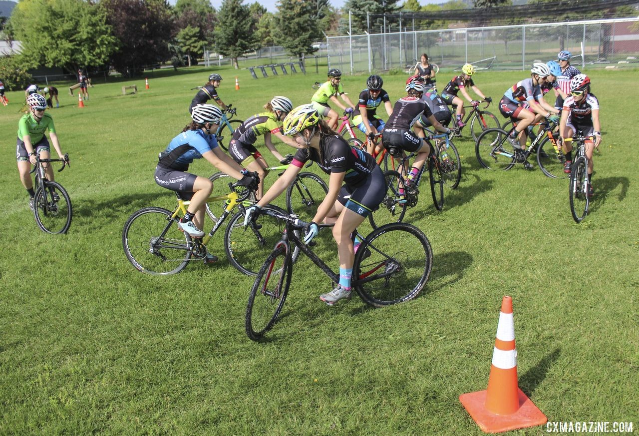 Campers mill about in the first round of Bike Derby. 2019 Women's MontanaCrossCamp, Wednesday AM. © Z. Schuster / Cyclocross Magazine