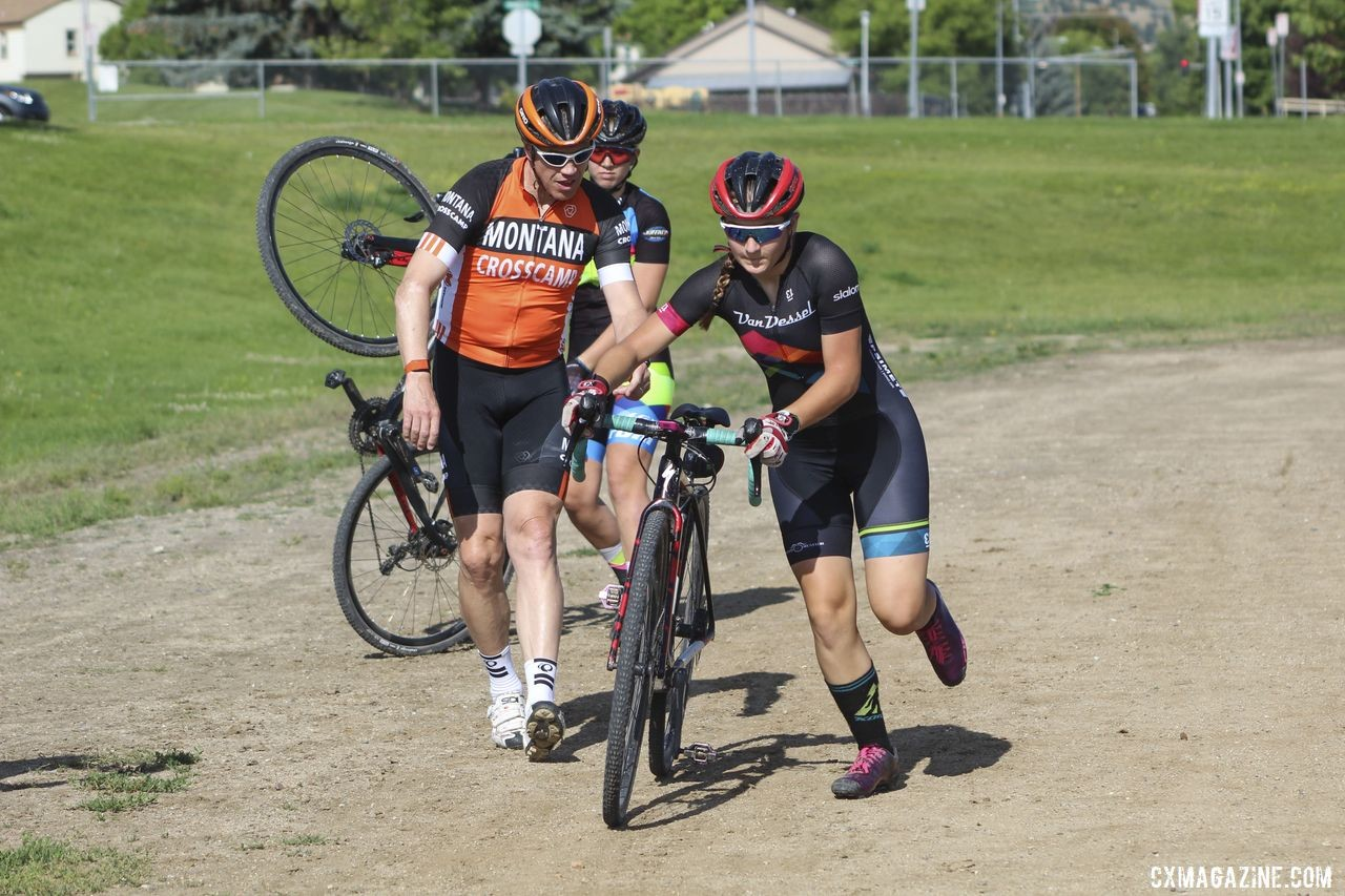 Not Callah Robinson's first Redline. Also not her bike, since it was the pit exchange drill. 2019 Women's MontanaCrossCamp. © Z. Schuster / Cyclocross Magazine
