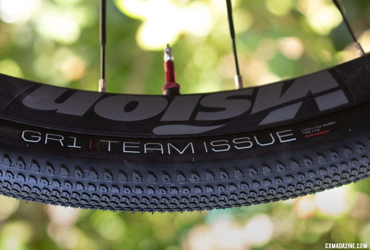 Bontrager's new GR1 TLR Team Issue gravel tire comes in two widths (40mm and 35mm) and two sidewall colors (black, brown). © A. Yee / Cyclocross Magazine