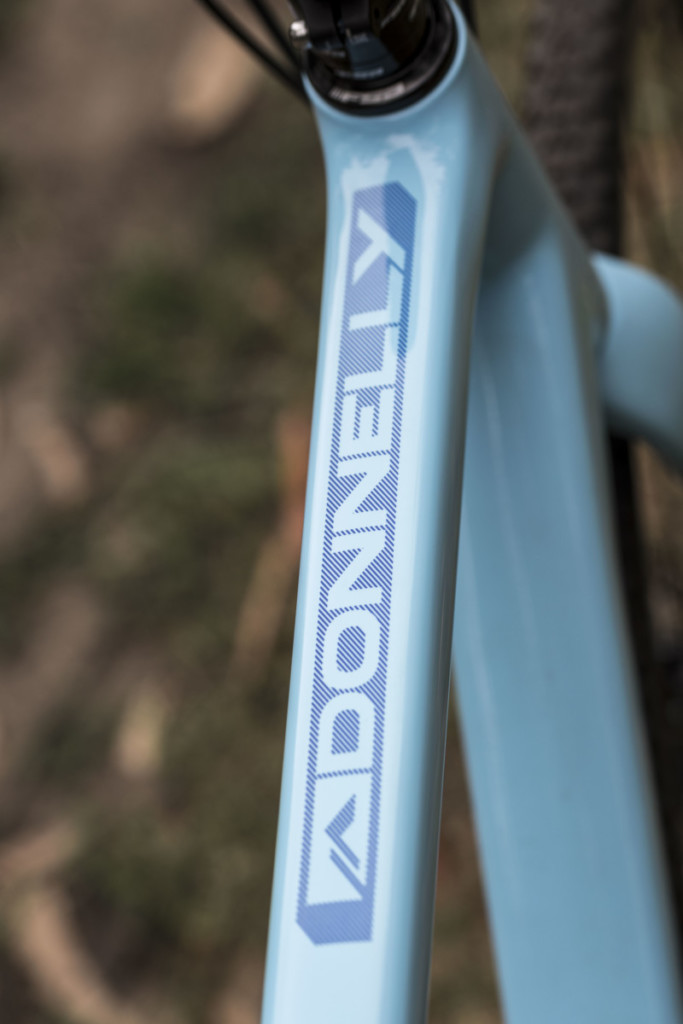 Graphics on the Amy D Blue frameset are a subtle dark blue for a nice look. Donnelly C//C Force Cyclocross Bike. © C. Lee / Cyclocross Magazine