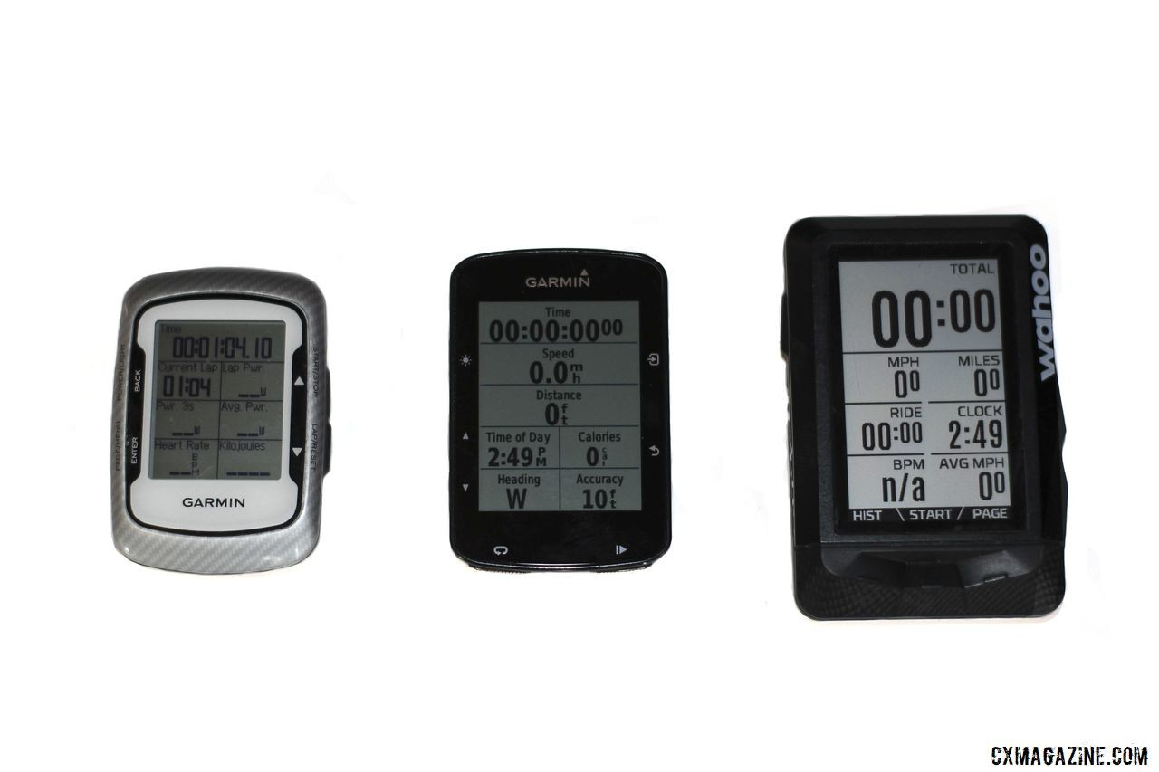 The Garmin Edge 520 Plus (middle) compared in size to the Garmin Edge 500 and Wahoo Elemnt. Garmin Edge 520 Plus Cycling Computer. © Z. Schuster / Cyclocross Magazine