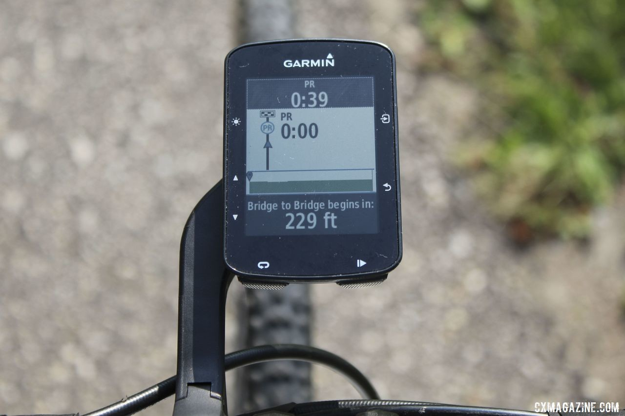 The computer gives you a heads up that a segment is approaching. Garmin Edge 520 Plus Cycling Computer. © Z. Schuster / Cyclocross Magazine