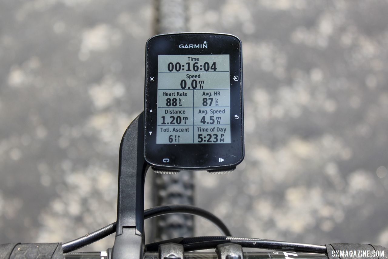Eight data fields were relatively easy to read on the Edge 520 Plus. Garmin Edge 520 Plus Cycling Computer. © Z. Schuster / Cyclocross Magazine